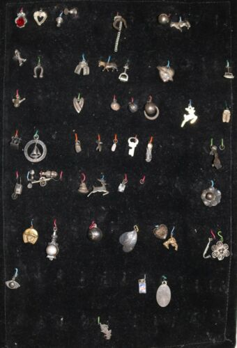 Lot of 48 Vintage Charms, 40 Sterling Charms, Jewe