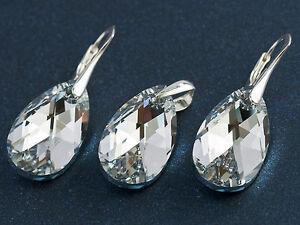 SET-BIG-PEAR-22-GENUINE-SWAROVSKI-CRYSTAL-earrings-pendant-STERLING-SILVER