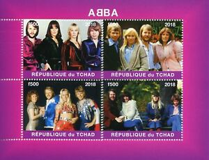 Chad-2018-CTO-ABBA-4-V-M-S-Popstar-Pop-Star-Musica-Celebrita-FRANCOBOLLI