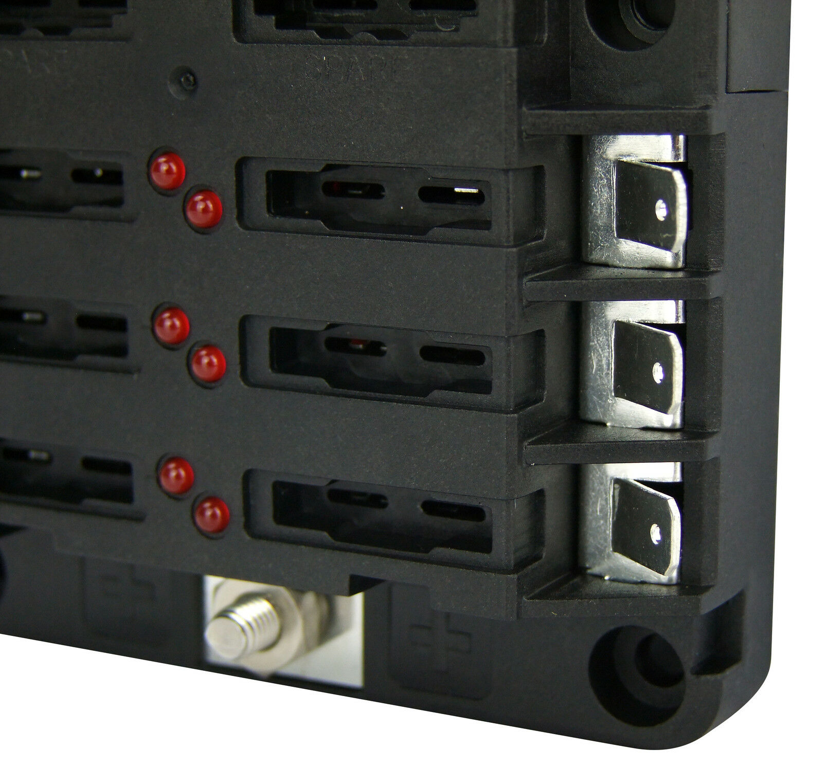 buss bar 12 way with 6 circuit fuse box modular kit 12v. Black Bedroom Furniture Sets. Home Design Ideas