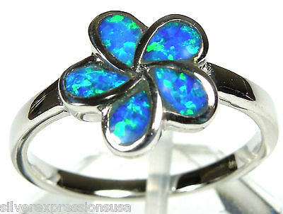 Blue Fire Opal Inlay 925 Sterling Silver Plumeria Flower Ring size 6 8 9