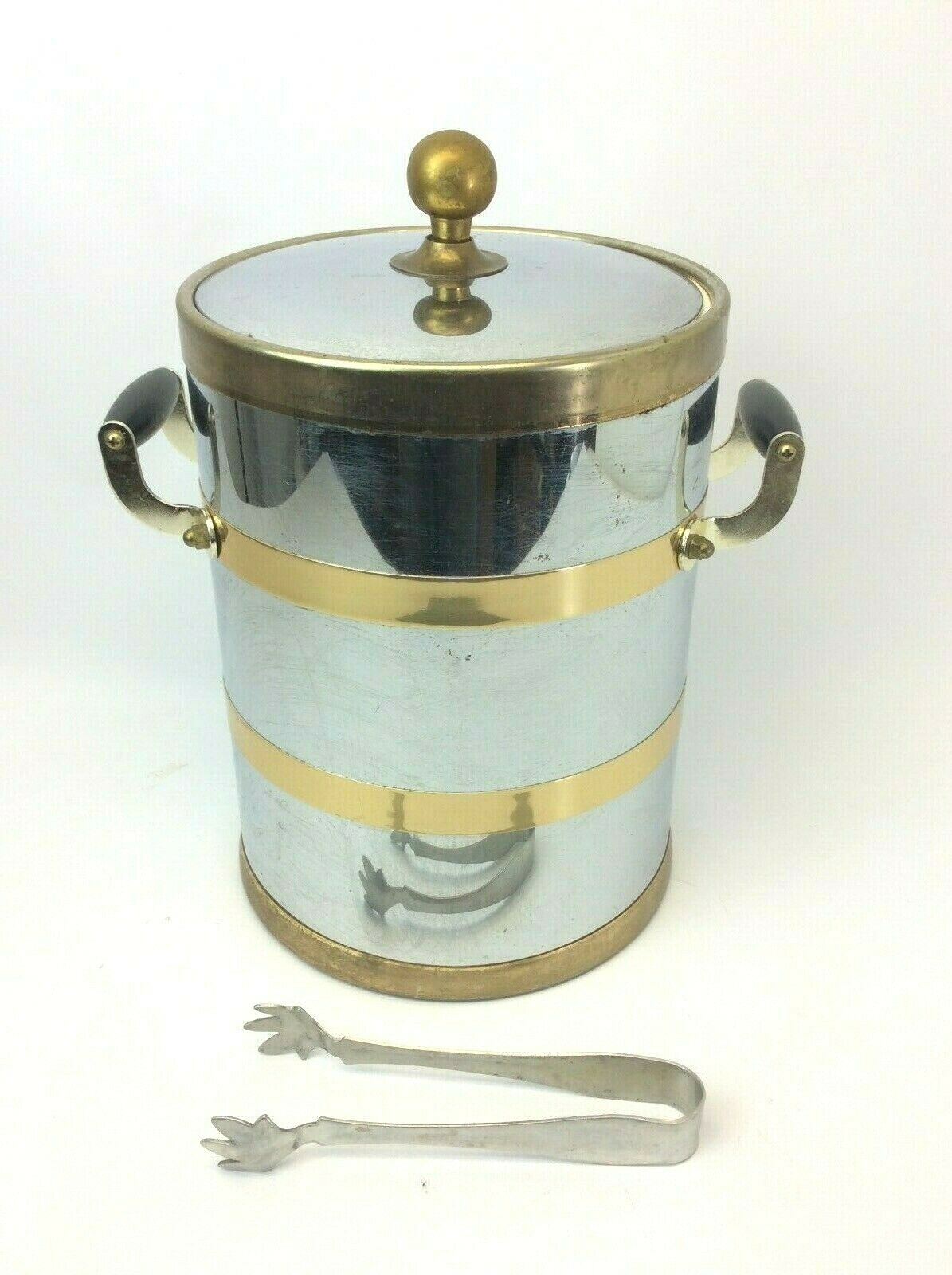 Vintage élégance par Craftware Métal Chrome Laiton Deux avec Poignée Glace Seau