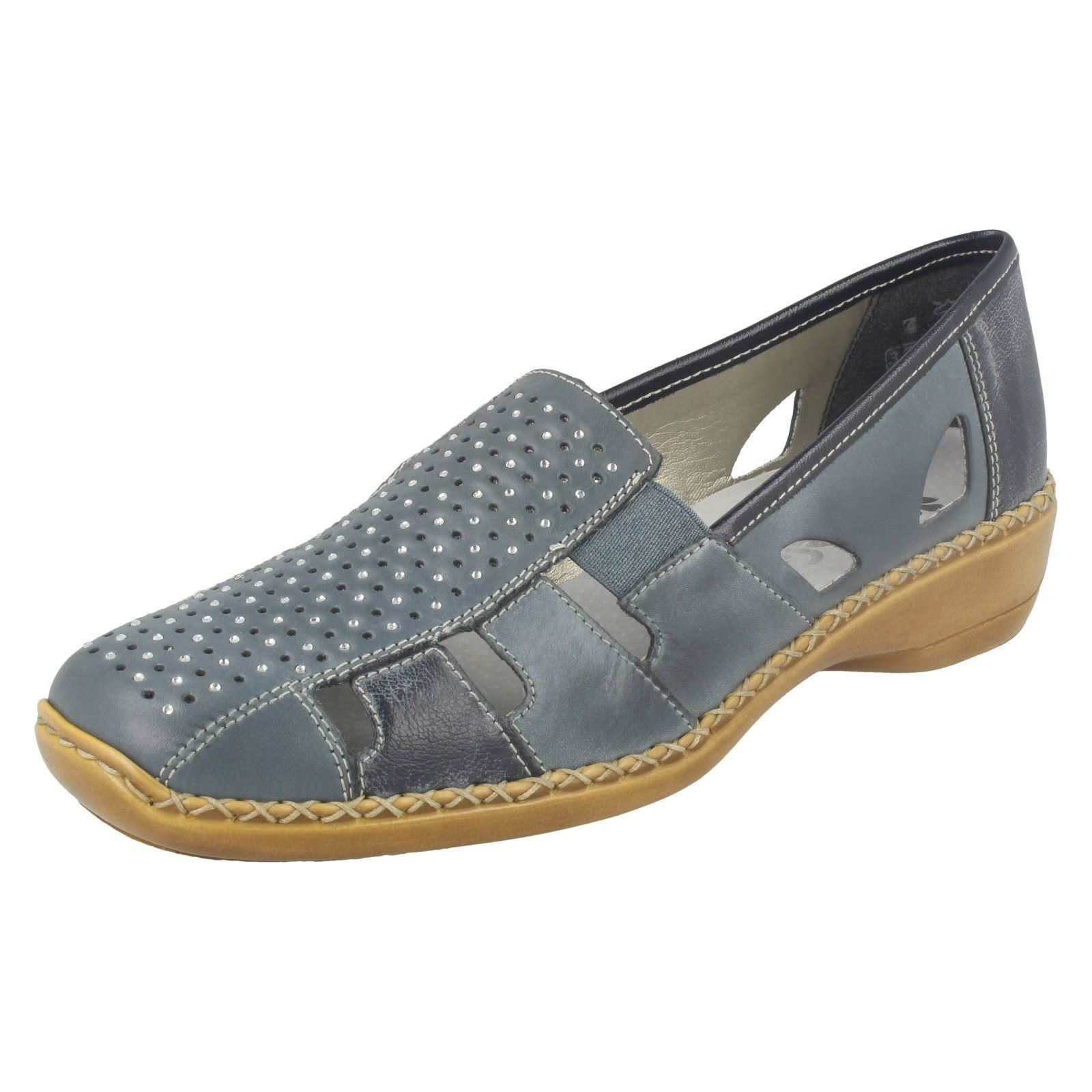 Ladies Rieker 41340 bluee Leather Casual Casual Casual shoes 6312fd