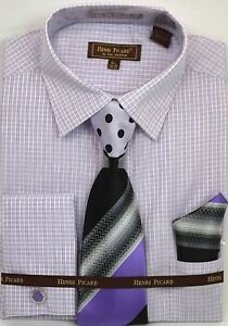 Men-039-s-Dress-Shirt-Tie-Hanky-Set-Striped-Lavender-White-Cuff-Links-French-Cuff