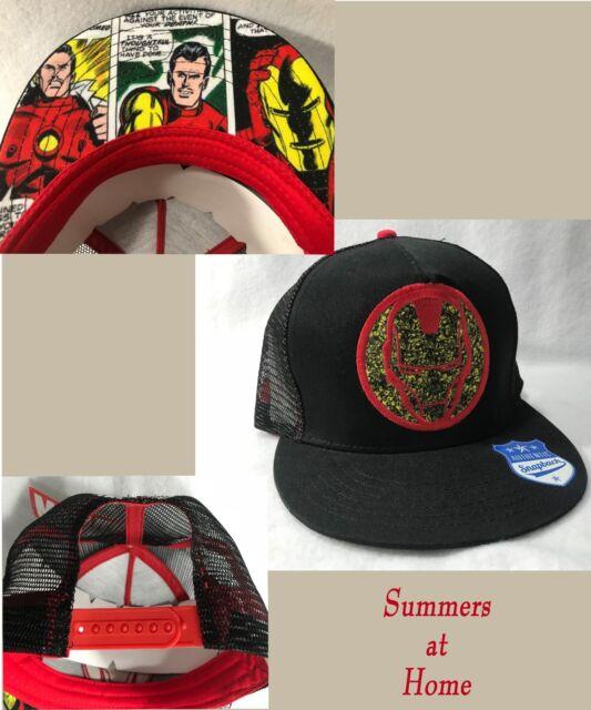 799899be458 Marvel Iron Man Comic Helmet Logo Snapback Hat Cap Mesh Back Adjustable  Adult