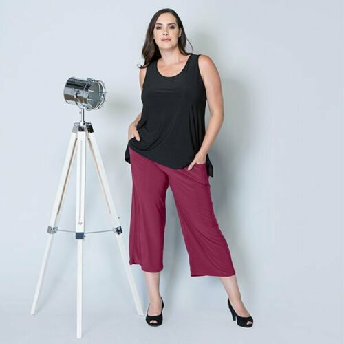 Styled By Culotte crop wide leg Trouser with Pockets 25 inch printed /& plain