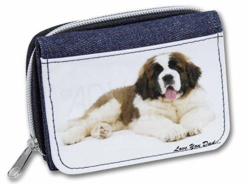 St Bernard Dog /'Love You Dad/' Girls//Ladies Denim Purse Wallet Christma DAD-98JW
