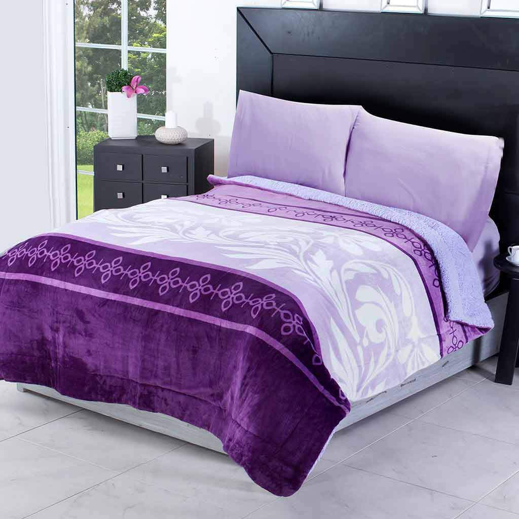 Evelyn Lilac Floral Sherpa Flannel Blanket by Intima Hogar
