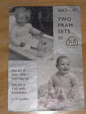 P&B wools vintage baby 2 pram sets 6-12 months knitting 360-6