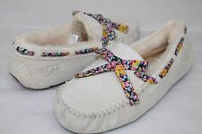 UGG AUSTRALIA DAKOTA LIBERTY SUEDE SHEARLING ANTIQUE WHITE SLIPPERS SIZE 11 US