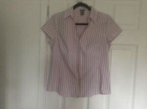 ladies-ann-taylor-short-sleeve-blouse-size-12uk-10-canadian-striped
