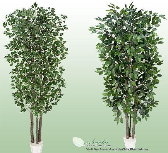 2 Potted 7' RealWood Artificial Tree Ficus + Danica Oak