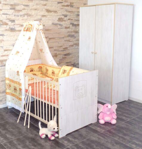 Babyzimmer Komplett Set Babybett Gitterbett Umbaubar 5Farben Schrank weiß Rosa