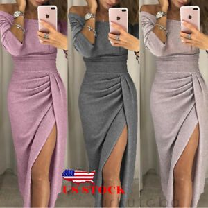 9d54f321fd9f US Women's Off Shoulder Long Sleeve Bodycon Evening Cocktail Party ...