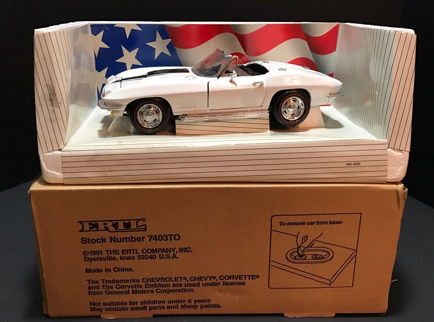 ERTL 1967 CHEVROLET CORVETTE L-88 Blanc 7403 To American Muscle CABRIOLET CHEVY