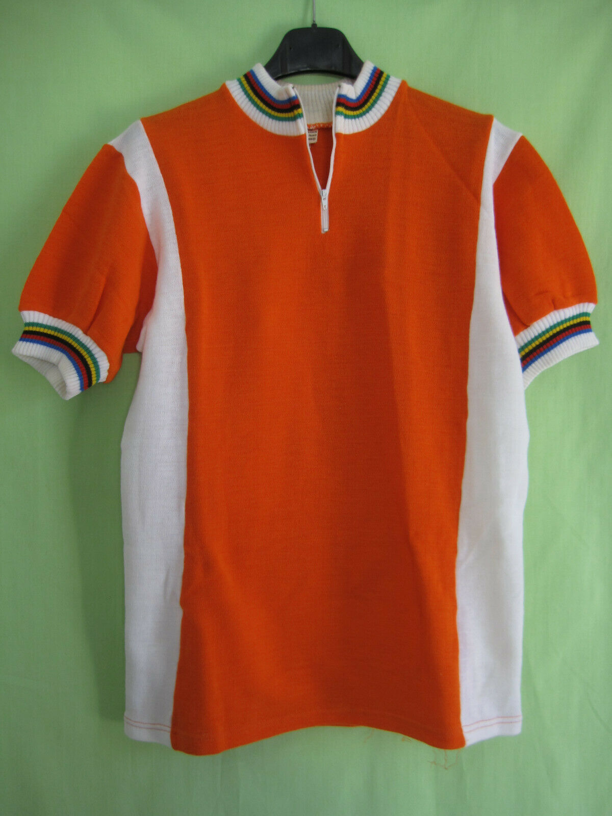 Maillot Cycliste vintage orange Cycles Acrylique 70'S jersey cycling - 4   L
