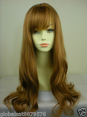 A6  Long Wavy Strawberry Ginger Blonde Lady Salon Wigs Hair CC35