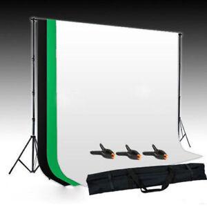 Hintergrundsystem-Hintergrundstoff-Gruen-Schwarz-Weiss-3x1-6M-Fotostudio-SET