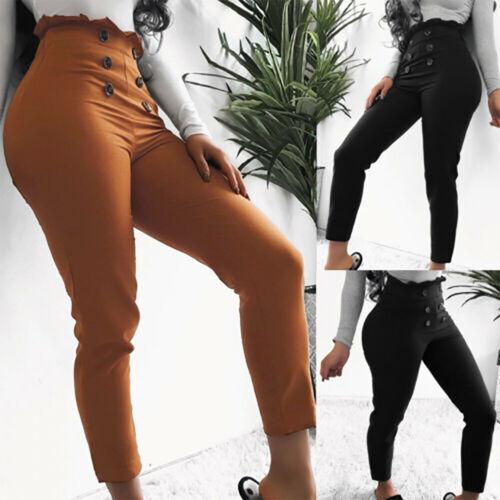 Womens High Waist Paper bag Trousers Ladies Slim Fit Long Pencil OL Office Pants