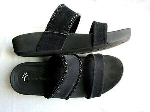 Bare-Traps-Sandal-Black-Slide-Womens-Size-7-Beaded-Wedge-Sole