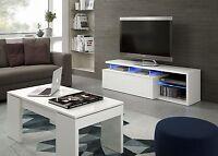 Zenia Tv Dvd Media Unit Living Room Furniture White With Blue Multi Led Lights