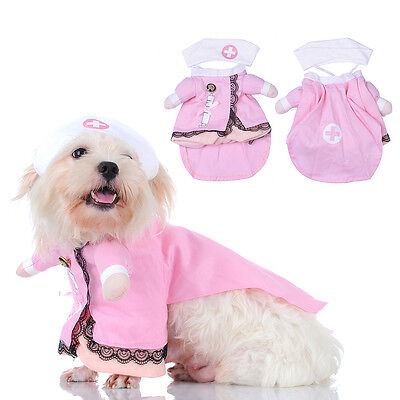 Cute Pet Dog Cat Clothes Funny Puppy Dog Kitten Nurse Uniform Costume Fancy Coat