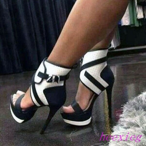 Sexy Mujer Correa Hebilla al Tobillo Zapatos De De De Plataforma Sandalias De Tacón Alto Puntera Abierta Plus talla  buena calidad