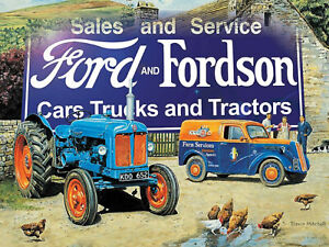 VINTAGE-STYLE-METAL-WALL-SIGN-TIN-PLAQUE-FORD-AND-FORDSON-TRACTOR-PICTURE-FARM