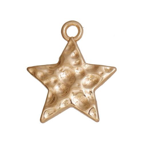 10 Vergoldet Gehämmert Weihnachtsstern Charms//Anhänger ~18x15mm ~Karten~ Kette