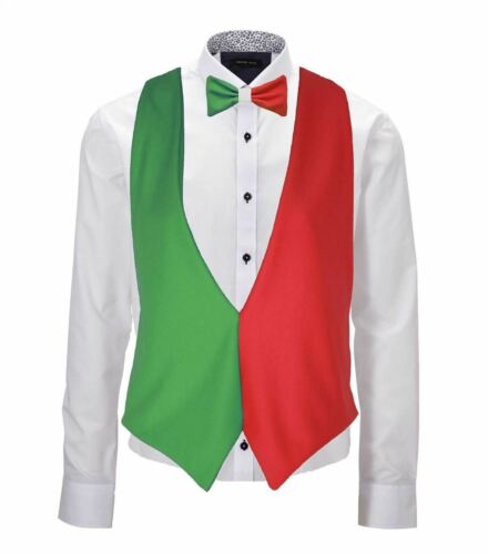 Childs Italy Flag Backless Waistcoat /& Bow Tie Italian Waiter Outfit Accessory
