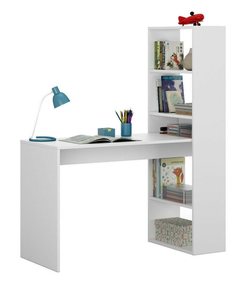 Mesa de ordenador PC y escritorio con estanteria reversible en blanco artic