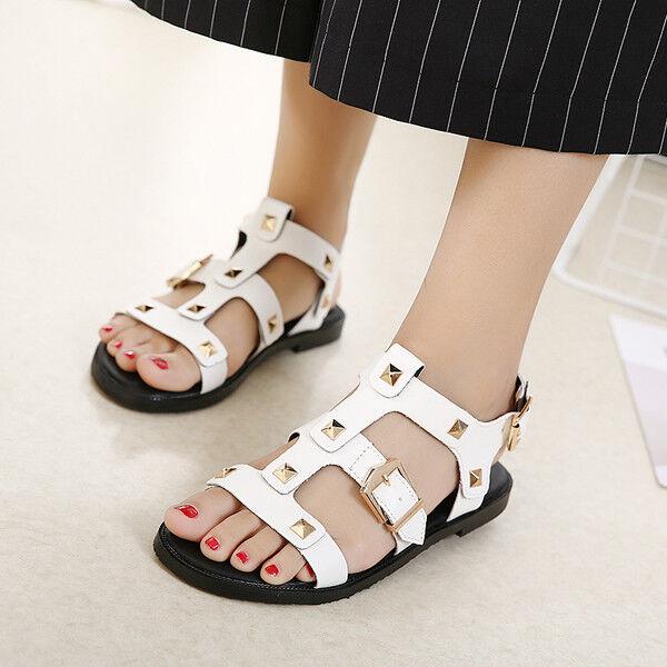Sandali eleganti bassi  ciabatte colorati bianco borchie comodi simil pelle 1079
