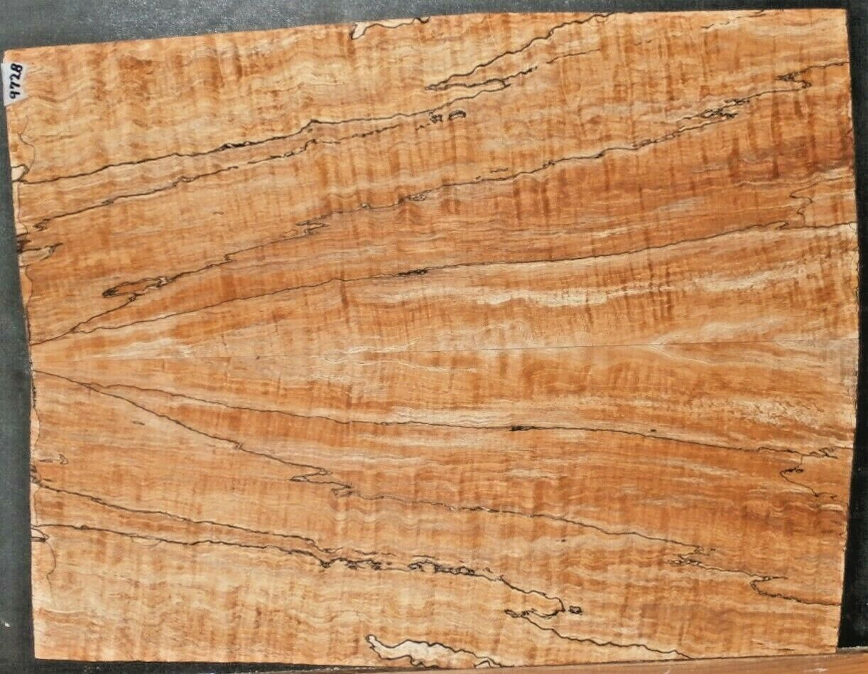 Ambrosia Spalted Curly Maple Wood 9728 Luthier 5A Solid Body Guitar Top set