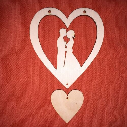 3x MDF WOODEN WEDDING HEARTS SIGN craft shape plaque hanger blank valentines day