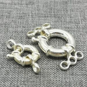 925 Sterling Silver Double Ring Clasp Connector for Pearl Bracelet Necklace