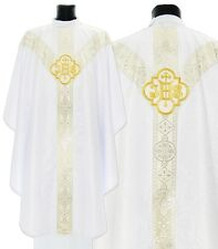 """White Gothic Chasuble """"IHS"""" with stole GY209-B25 Vestment Casulla Blanca Kasel"""