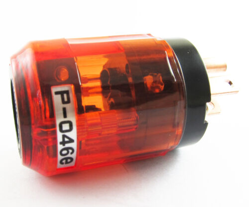 5pc Pure Copper P-046E 3pin US Power Male Plug IEC Connector for Audio Clear Red