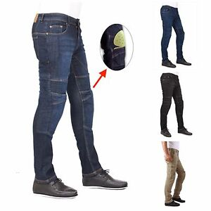 Men-039-s-motorbike-motorcycle-SKINNY-SLIM-FIT-denim-jeans-with-protective-lining