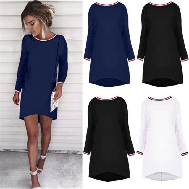 UK Womens Stripes Long Top T-shirt Ladies Casual Party Tops Blouse Mini Dress