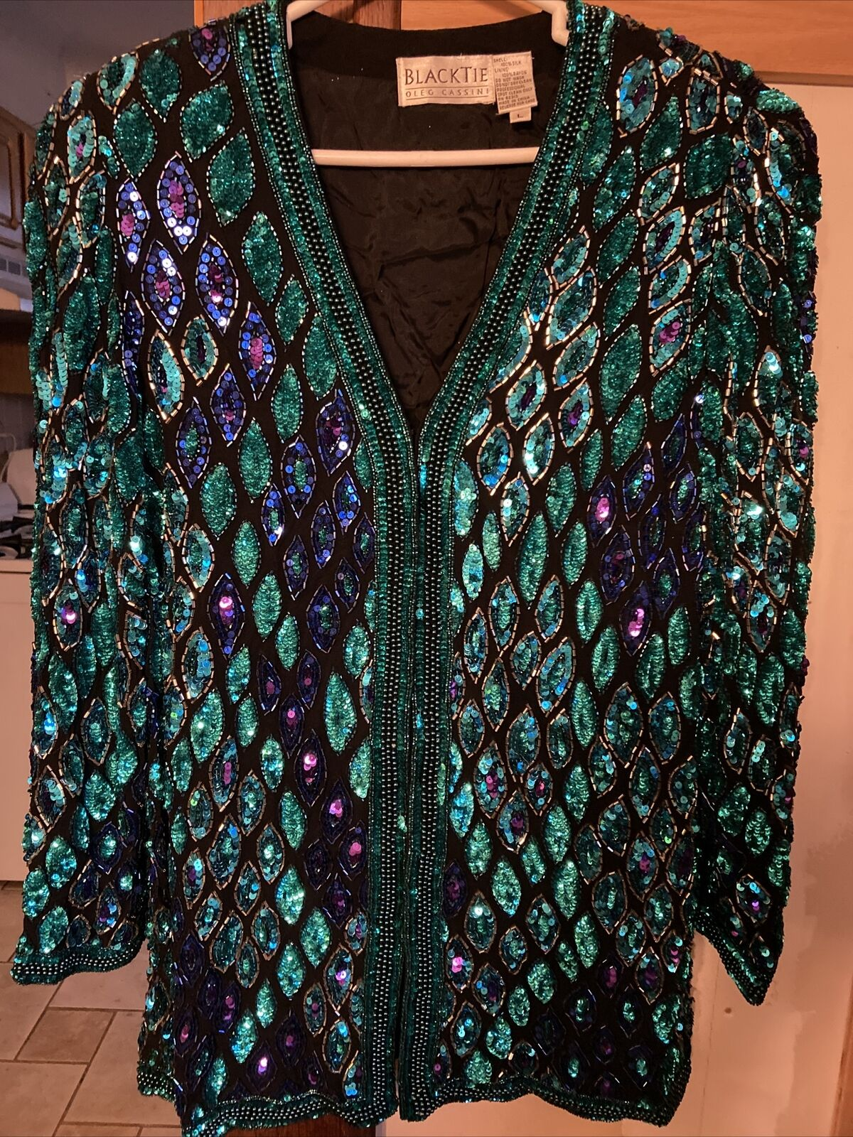 Papell Boutique Evening Black 100% Silk, Green & Blue Beaded Womens Jacket L