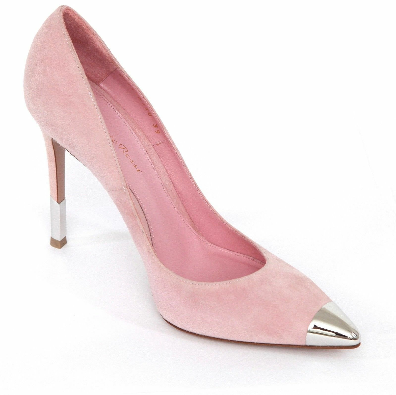 GIANVITO ROSSI Rosa Suede D'Orsay Pump Pointed Toe Leather Silber Heel Sz 39