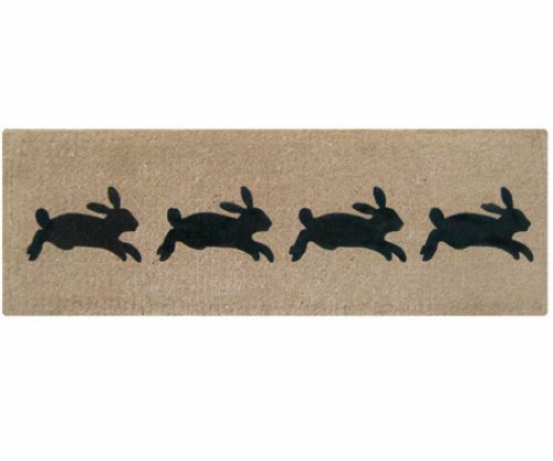 French Rabbits LONG Mat 4 rabbits design - 100% Coir Doormat / Door Mat Modern