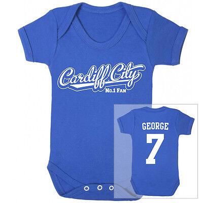 CARDIFF CITY Football Personalised Baby Bodysuit Vest