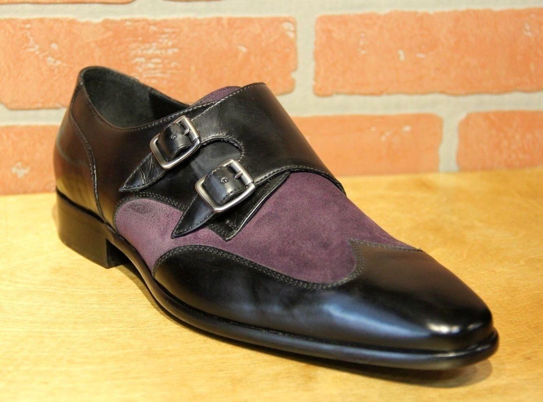 Calzoleria Toscana Men's Monk Strap Black Purple Leather Suede Dress shoes 1689