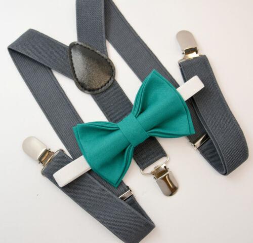 Kids Boys Mens Baby Dark Gray Suspenders /& Teal Bow tie Infant ADULT SET