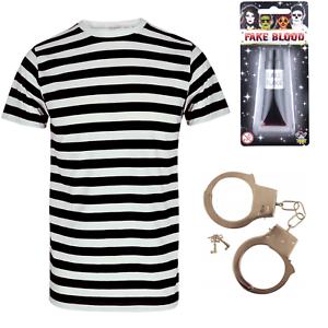 MENS CHILDRENS  ZOMBIE CONVICT PRISONER COSTUME HALLOWEEN FANCY DRESS OUTFIT