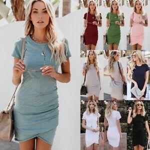 Women-Asymmetric-Bodycon-Short-Sleeve-Holiday-Ladies-Summer-Party-Mini-Dress-lot