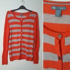GAP Size L 14 16 Merino Wool Beige Orange Stripe Knit Long Sleeve Cardigan
