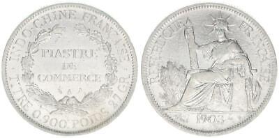 Pflichtbewusst 1 Piaster 1903 A Frankreich Französisch Indochina, Piastre De Commerce,ss-vz Einfach Zu Schmieren