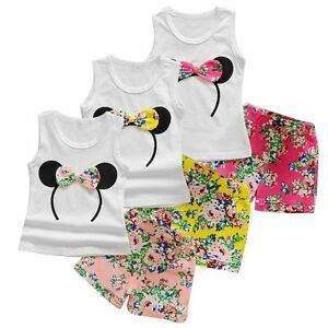 5fd499194f631 2PCS Baby Kids Girls Minnie Mouse T-shirt Tops+Pants Shorts Outfits ...